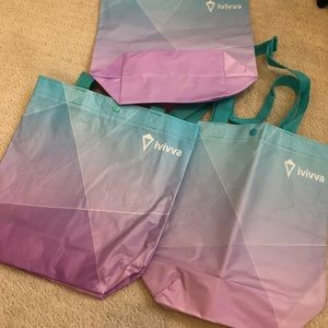 3 reusable Ivivva shopping bags small